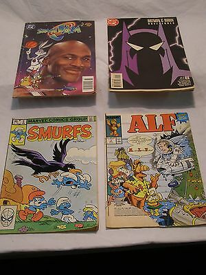 4 Vintage Comics DC 1996 Space Jam 1997 Batman & Marvel 1982 Smurfs & 1988 Alf