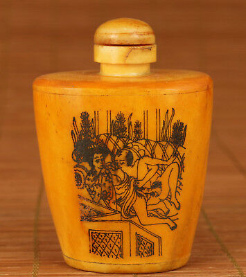 Chinese Old Collection Handmade Carved Statue Snuff Bottle Art Gift