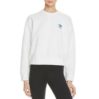 Adidas 3897 Womens White Textured Herringbone Long Sleeves Sweatshirt Top M BHFO