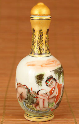 Art China Old Jingdezhen Porcelain Hand Painting Life Statue love Snuff Bottle