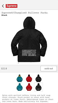 bc927d77bc45 SUPREME CHAMPION PULLOVER Parka SS18 BLACK size M In Hand -  289.00 ...