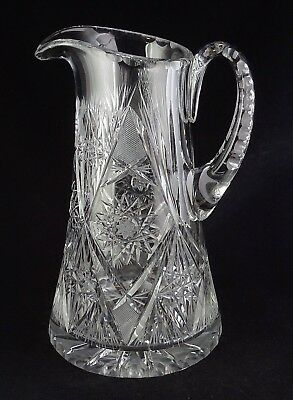 Large Cut Crystal Water Pitcher - Hobstars, Flashed Fans - Scalloped Rim - Great