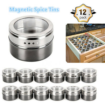 12X Magnetic Spice Containers Tin Stainless Steel Storage Tin For Kitchen BBQ