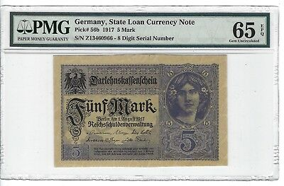 P-56b 1917 5 Mark, Germany, State Loan Currency Note,  PMG 65EPQ GEM