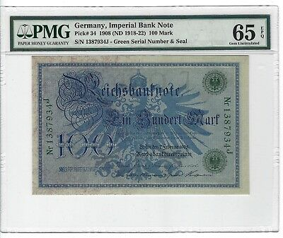 P-34 1908 100 Mark, Germany, Imperial Bank Note, PMG 65EPQ GEM