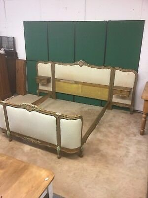 Vintage French King Size Upholstered Bed Frame