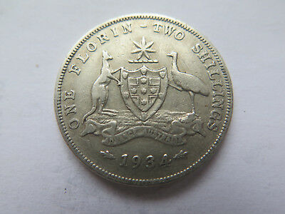 1934 AUSTRALIAN SILVER FLORIN King George V in VERY NICE COLLECTABLE CONDITION