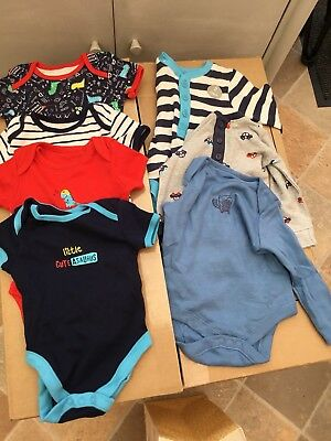 Baby Boys Long And Short Sleeve Vests 3-6 Months Dinosaur Bundle Clothes