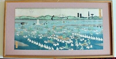 Very Large Japanese Print Of A Woodblock Print Late 19Th Early 20Thc Framed
