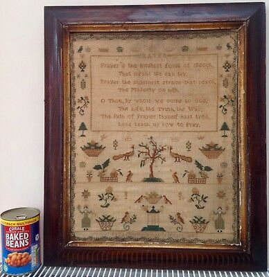 Antique Sampler. Hand-stitched 175 Years Ago By Eliza Obree Aged 11 In 1843.