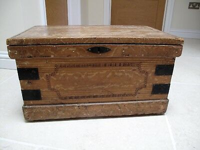 Antique pine scrumble ware chest, storage trunk,small toy box.