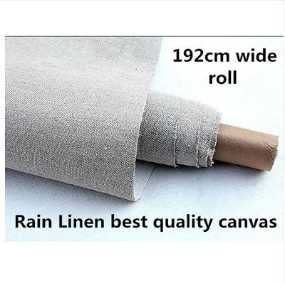 Blank Canvas Roll Artist Heavy 475gsm Long Rain Linen 192cm Wide Oil Painting