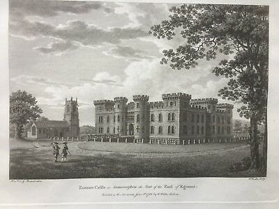 1783 Antique Print; Enmore Castle, Bridgwater, Somerset after Perceval / Watts