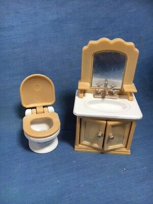 Sylvanian Families Original Bathroom Furniture Set Toilet And Washbasin