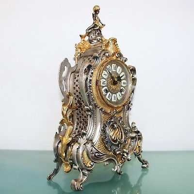 HERMLE Mantel Clock Vintage GILDED / SILVER PLATED METAL Chime Neuchatel Germany