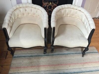 Tub chairs two, believed to be antique French. Reupholstered 10 years ago.