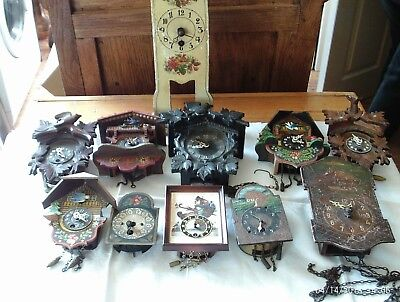 11 small vintage cuckoo clocks job lot,for spares or repair
