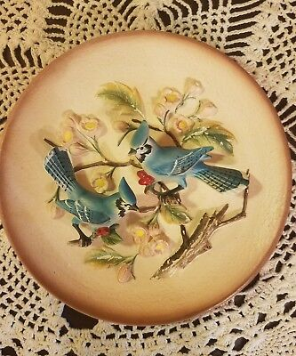 Vintage Original Napcoware Two Blue Jay Birds on Pottery Plate Hanger Japan