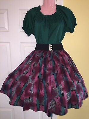 Malco Modes -Square Dance Ladies Green Top, Multi Color Skirt & Belt- Small