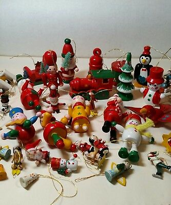Lot of 45 Vintage Painted Wood Wooden Christmas Ornaments Mini's Too!
