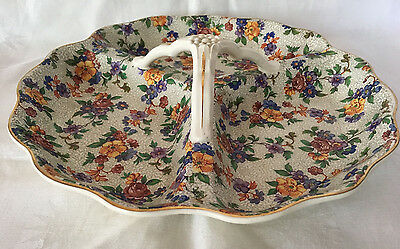 Erphila Warwick Cherry Chintz Divided Serving Tray with Handle Germany