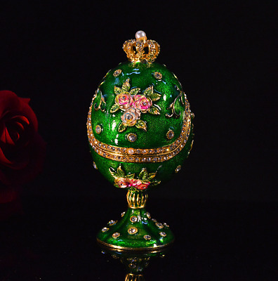 "4.75"" Green Faberge egg gold trim trinket box"