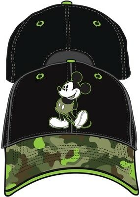 Disney Classic Mickey Mouse Camo Boys Black Green Youth Girls Baseball Hat Cap
