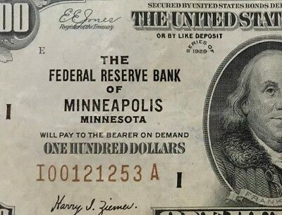 (BEAUTIFUL BROWN SEAL $100 NOTE) 1929 One Hundred Dollar Bill, Minneapolis RARE