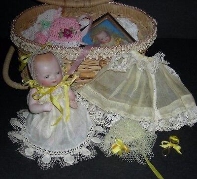 "BISQUE BYE-LO BABY - w/ OLD BASKET & CLOTHES & ACCESSORIES - 5"" - GRACE S PUTNAM"
