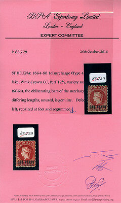 ST HELENA 1864 1d lake DOUBLE SURCHARGE in different sizes Type 4A+C SG 6a  RARE
