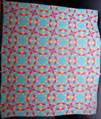 Antique  'Star of the East' Quilt, Blue,Pink, & Yellow, Cheerful Quilt #17991