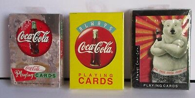3 Packs Coca Cola Playing Cards Polar Bear Always Coke Disc Icon 1990's Sealed