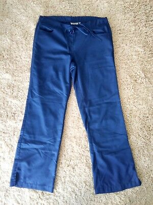 Grey's Anatomy by Barco Scrub Pants Navy Blue Tie Waist size SMALL inseam 31""