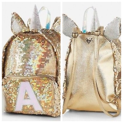 """NWT JUSTICE Gold Unicorn Initial """"A""""  Flip Sequin Mini Backpack -So pretty"""