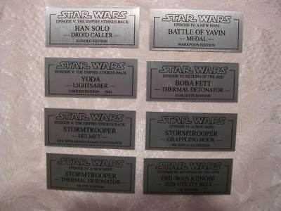Star Wars Lightsaber Replica Prop Custom Made Metal Plaques