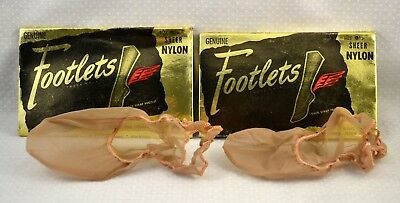 Vtg 1950s 2 Prs Footlets Nylon Slingback Heel 9 1/2 NEW Footies Foot Socks Peds