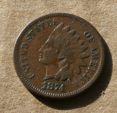 1874 Indian head Penny VF