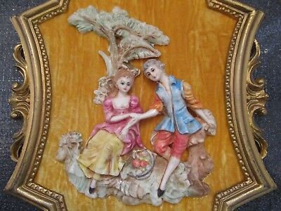 VINTAGE Made in ITALY Victorian 3D Relief Sculpture Figurine Ornate Frame