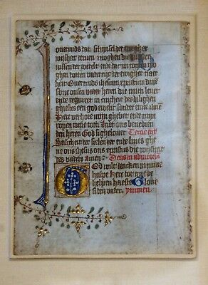 Antique Illuminated Manuscript Page Framed #1
