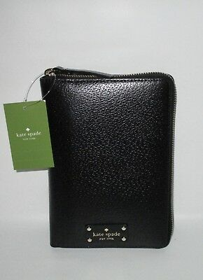 KATE SPADE Wellesley Black Leather Zip Around Personal Day Organizer Planner NEW
