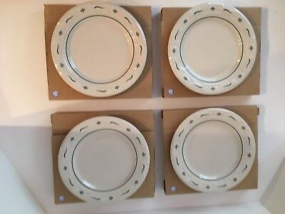 Longaberger Pottery, 4 Round Luncheon Plates in Heritage Green, NIB