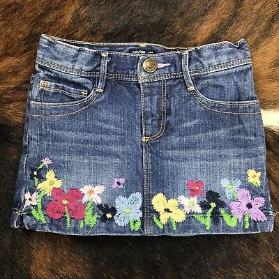 Baby Gap Girls Size 4T Denim Jeans Skirt Embroidered Flowers