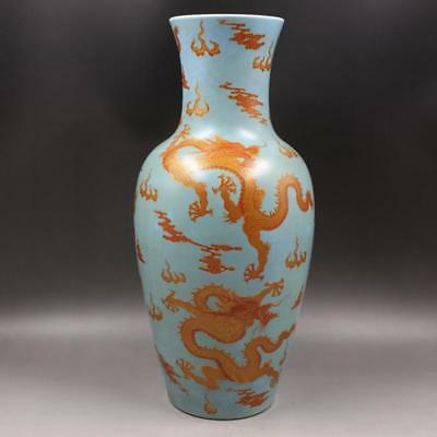 Beautiful Chinese Antique Famille Rose Porcelain Dragon Vase