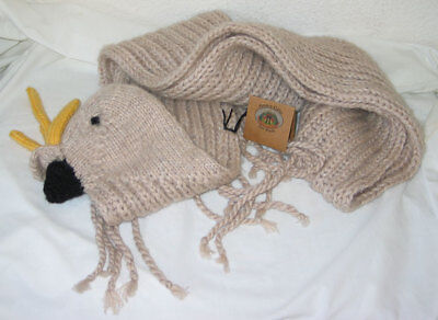 Andes Gifts Fair Trade Cockatoo Muffler / Hand Knit Alpaca/Nylon Neck Scarf NWT!