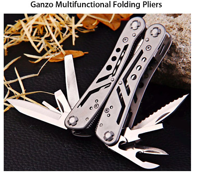 Folding Pliers Stainless Steel 10Pcs Screwdriver bits Knife Ganzo 3028 Camping