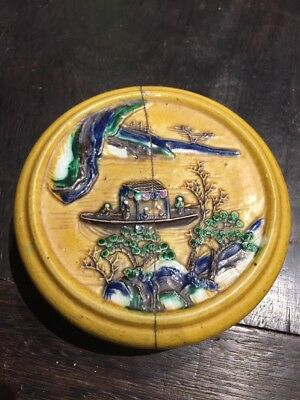 Old House Ming Chinese Old Yellow Porcelain Ink Box Asian China