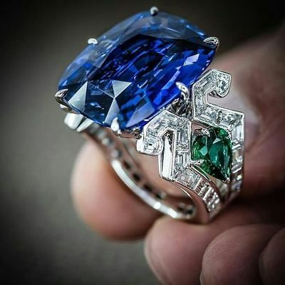 Sapphire& Emerald 925 Silver Jewelry Woman Men Wedding Engagement Ring Sz 6-10