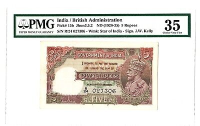 India 5 Rupees ND 1928-35 George V Note P. 15b PMG 35 Choice VF Rare