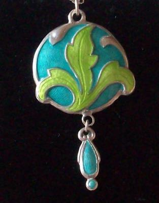 Vintage - Art Nouveau - Edwardian Style Beautiful Fine Enamel Drop Necklace