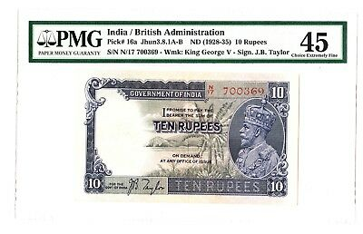 India 10 Rupees ND 1928-35 George V Note P. 16a PMG  45 Choice EF Rare